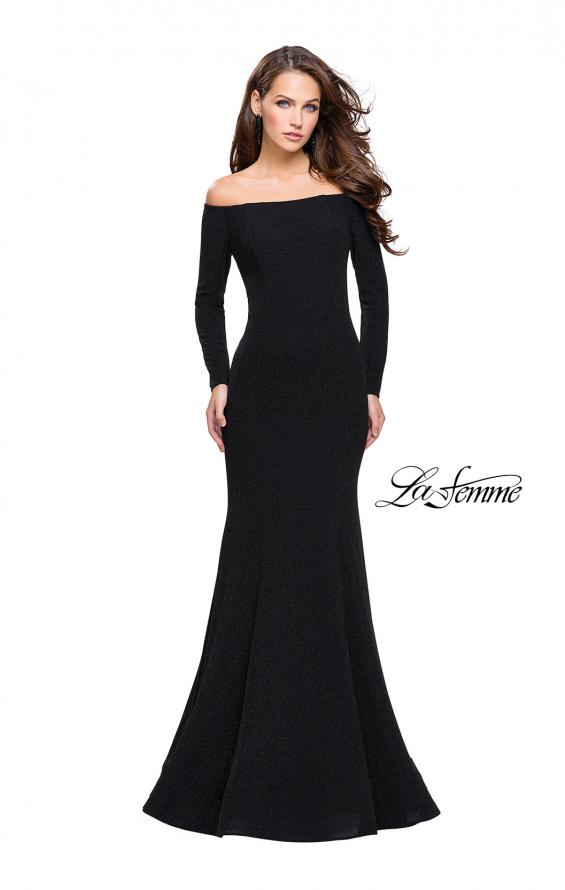 Picture of: Long Sleeve Off the Shoulder Prom Dress with Open Back in Black, Style: 25412, Main Picture