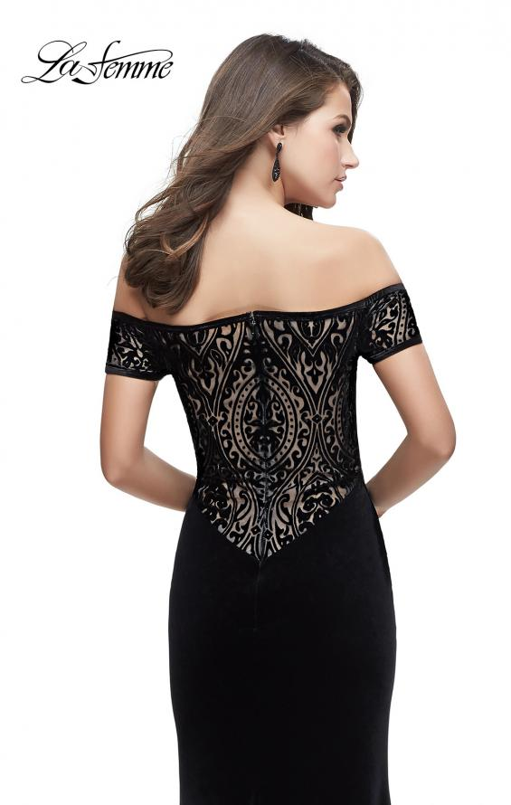 Picture of: Off the Shoulder Velvet Dress with Sheer Burnout Back, Style: 25554, Main Picture