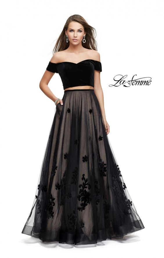 Picture of: Two Piece Prom Dress with Velvet Top and Tulle Skirt in Black, Style: 25574, Main Picture