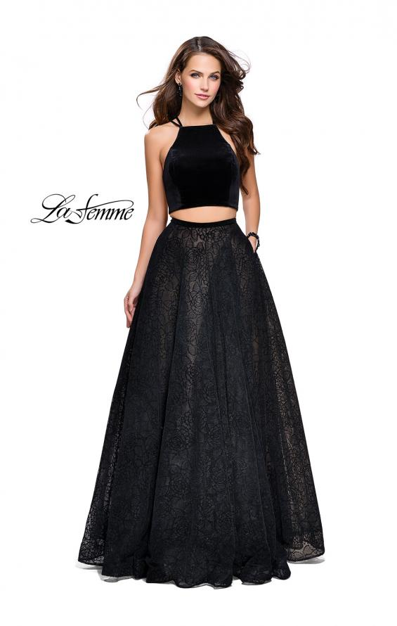 Picture of: Two Piece Long Ball Gown with Velvet Top and Open Back in Black, Style: 25592, Main Picture