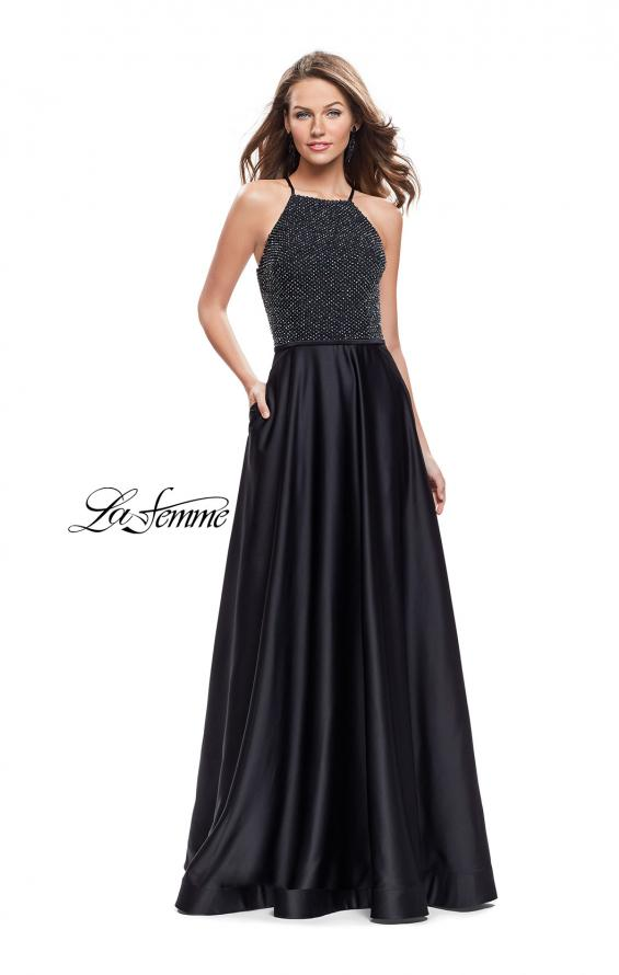 Picture of: Satin A-line Ball Gown Featuring Beading and a High Neck in Black, Style: 25601, Main Picture