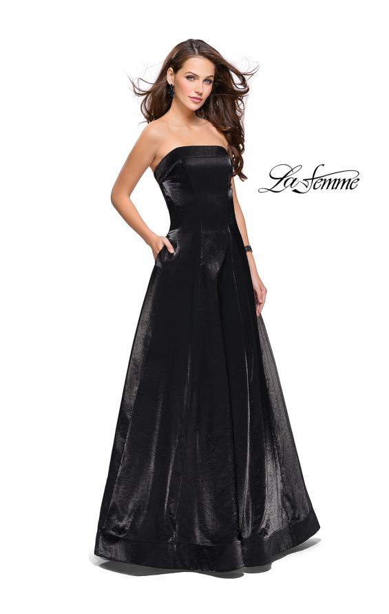Picture of: Long Strapless Two-Tone Satin Ball Gown with Pockets in Black, Style: 25638, Main Picture