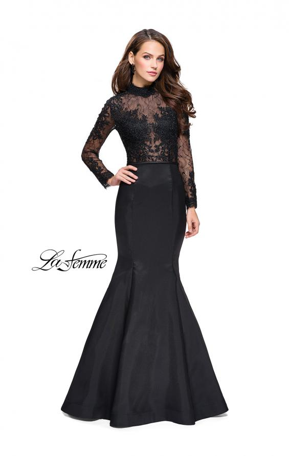 Picture of: Long sleeve Mermaid Mikado Prom Dress with Beading in Black, Style: 25677, Main Picture