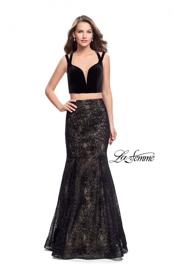 Picture of: Long Two Piece Prom Dress with Velvet Top, Style: 25772, Main Picture