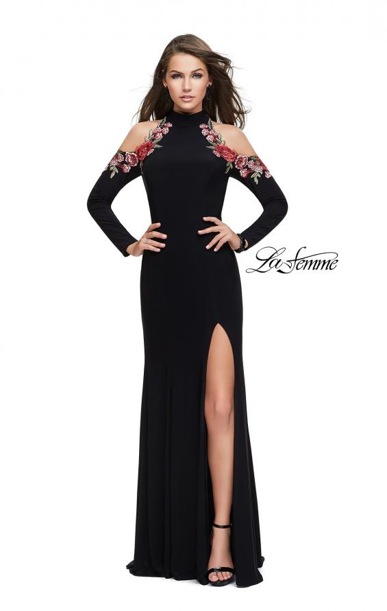Picture of: Form Fitting Jersey Prom Dress with Floral Applique, Style: 25807, Main Picture