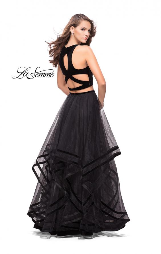 Picture of: Two Piece Tulle Gown with Velvet High Neck Top in Black, Style: 25817, Main Picture