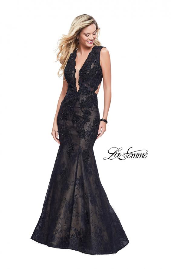 Picture of: Long Beaded Lace Mermaid Prom Dress with Open Back in Black, Style: 26120, Main Picture