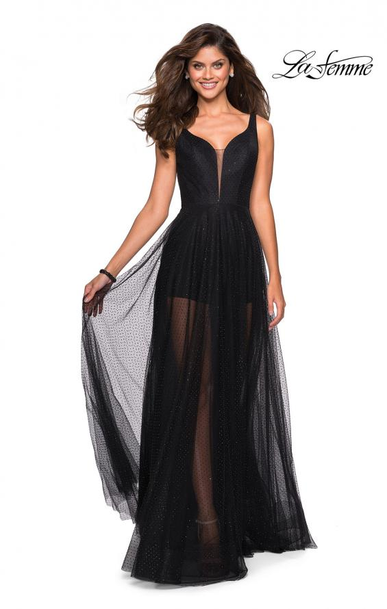 Picture of: Long Prom Dress with Sheer Skirt and Shorts in Black, Style: 27457, Main Picture
