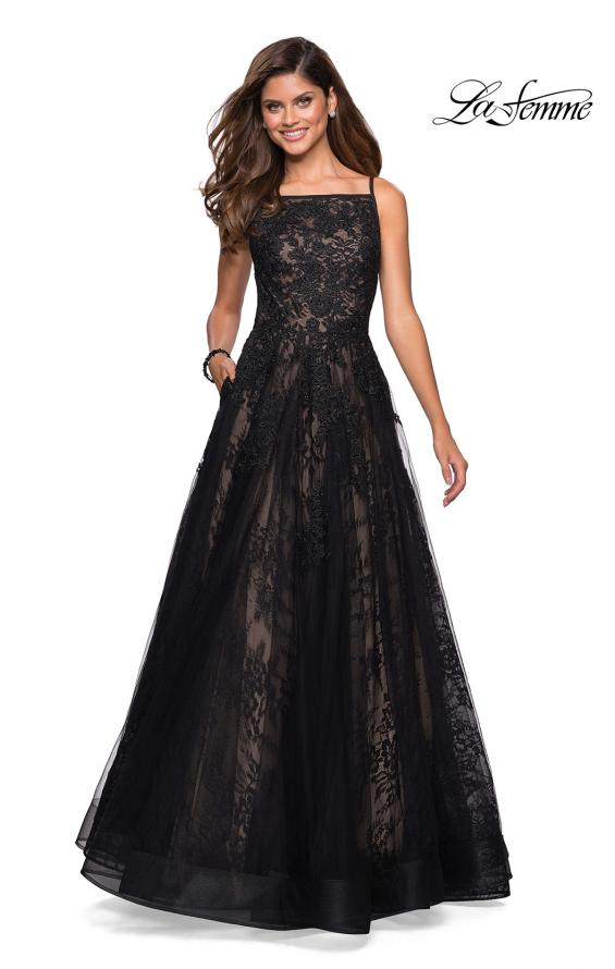 Picture of: Tulle and Lace Long Evening Gown with Pockets, Style: 27488, Main Picture