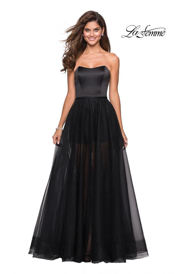 Picture of: Strapless Gown with Tulle Rhinestone Skirt and Shorts in Black, Style: 27522, Main Picture