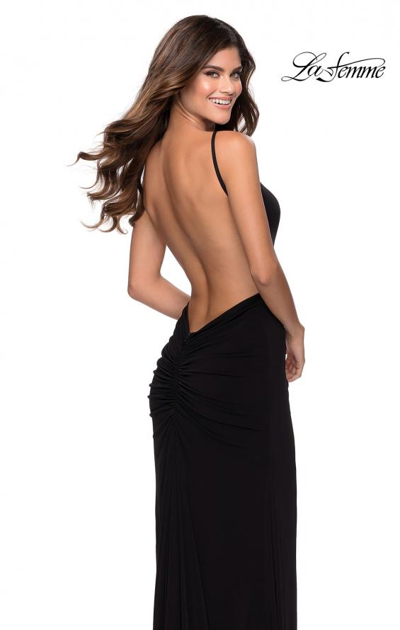 Picture of: Jersey Prom Dress with High Neck and Open Back in Black, Style: 28302, Main Picture