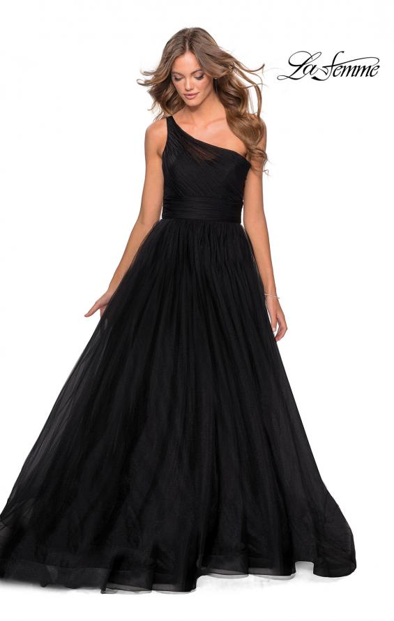 Picture of: One Shoulder Tulle Ball Gown with Pockets in Black, Style: 28383, Main Picture