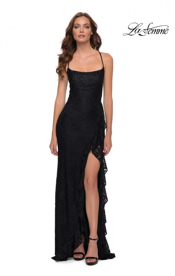 Picture of: Stretch Lace Dress with Ruffle Skirt Detail and Slit in Black, Style 29650, Main Picture