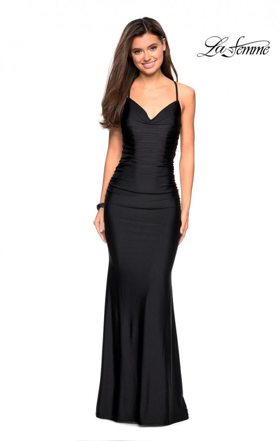 Picture of: Form Fitting Jersey Dress with Ruching and Strappy Back in Black, Style: 27501, Detail Picture 11