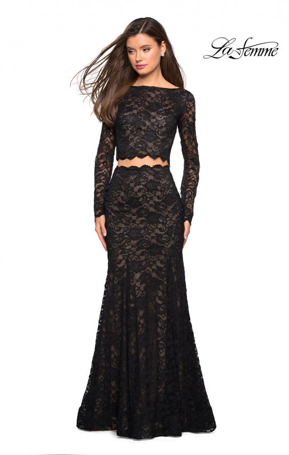 Picture of: Stretch Lace Long Sleeve Two Piece Prom Dress, Style: 27601, Detail Picture 11