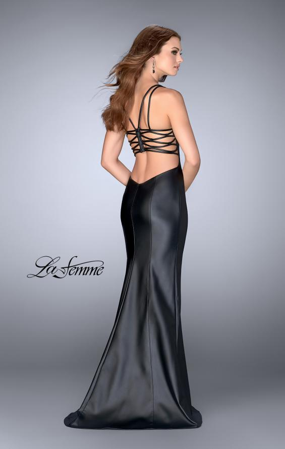 Picture of: Vegan Leather Gown with Strappy Back in Black, Style: 24712, Back Picture