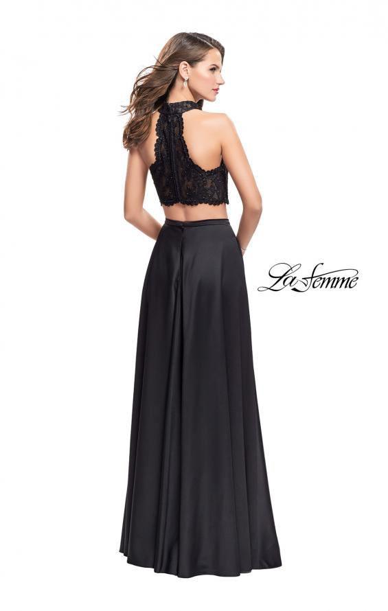 Picture of: Two piece gown with lace up top and satin A line skirt, Style: 25263, Back Picture
