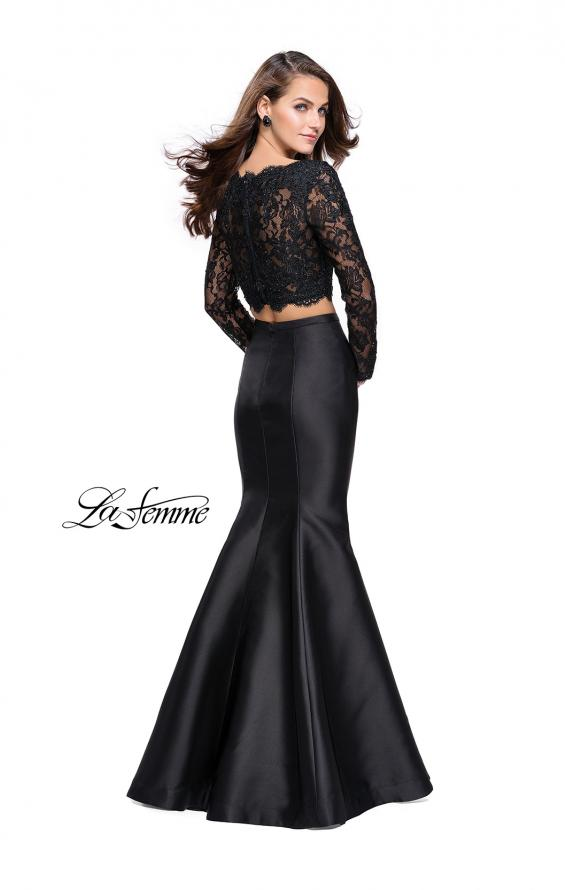 Picture of: Two Piece Mermaid Dress with Lace Top and Rhinestones in Black, Style: 25324, Back Picture