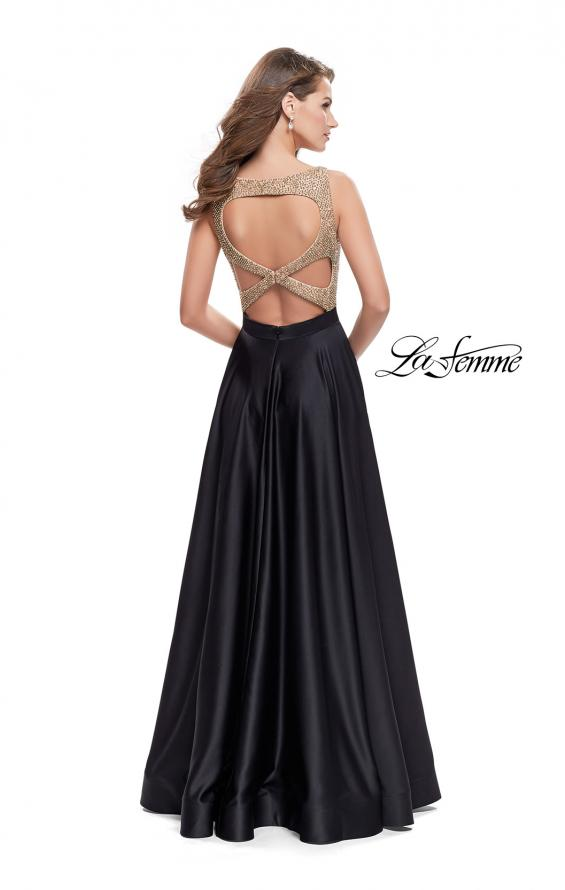 Picture of: Long A Line Dress with Beaded Top and Cut Outs, Style: 25362, Back Picture