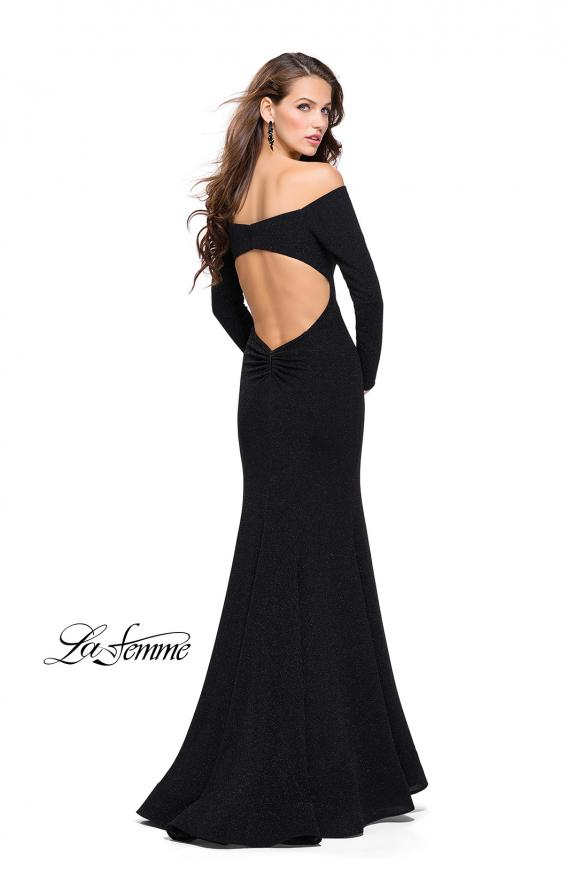 Picture of: Long Sleeve Off the Shoulder Prom Dress with Open Back in Black, Style: 25412, Back Picture