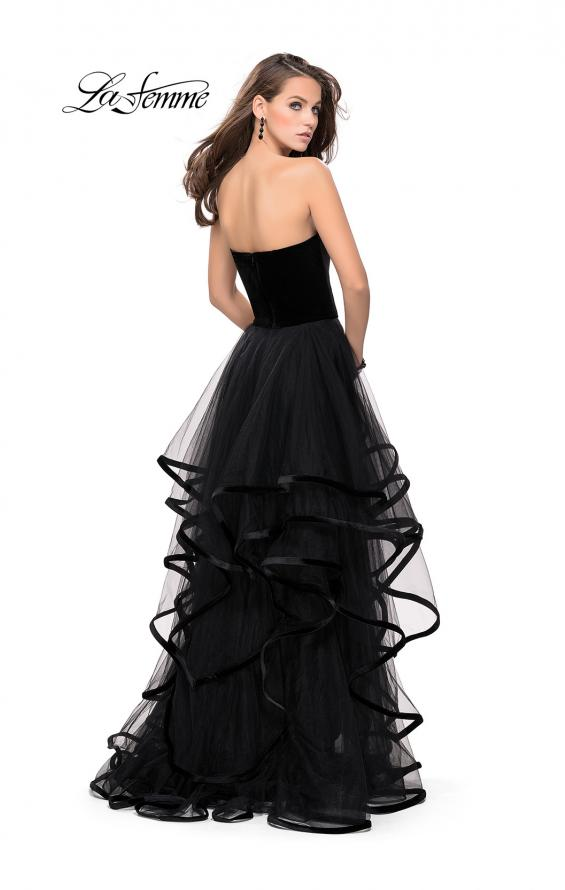 Picture of: Strapless Tulle Ball Gown with Velvet Detail in Black, Style: 25461, Back Picture