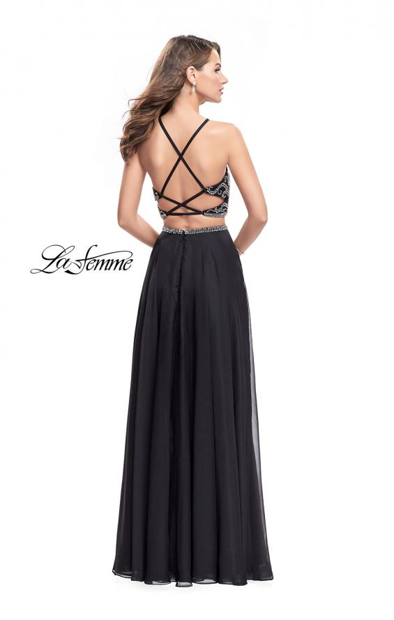 Picture of: Long Two Piece Dress with Beading and Strappy Back, Style: 25469, Back Picture