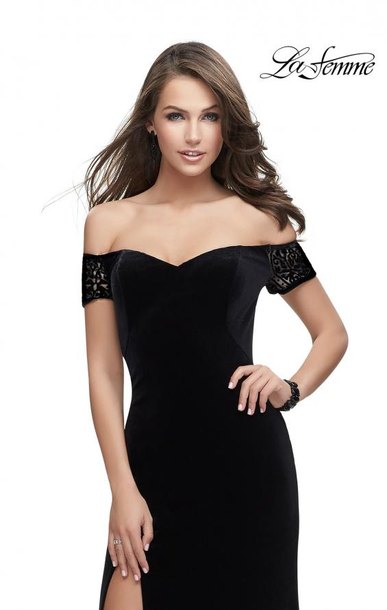Picture of: Off the Shoulder Velvet Dress with Sheer Burnout Back in Black, Style: 25554, Back Picture