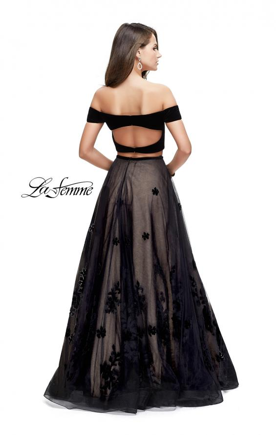 Picture of: Two Piece Prom Dress with Velvet Top and Tulle Skirt in Black, Style: 25574, Back Picture