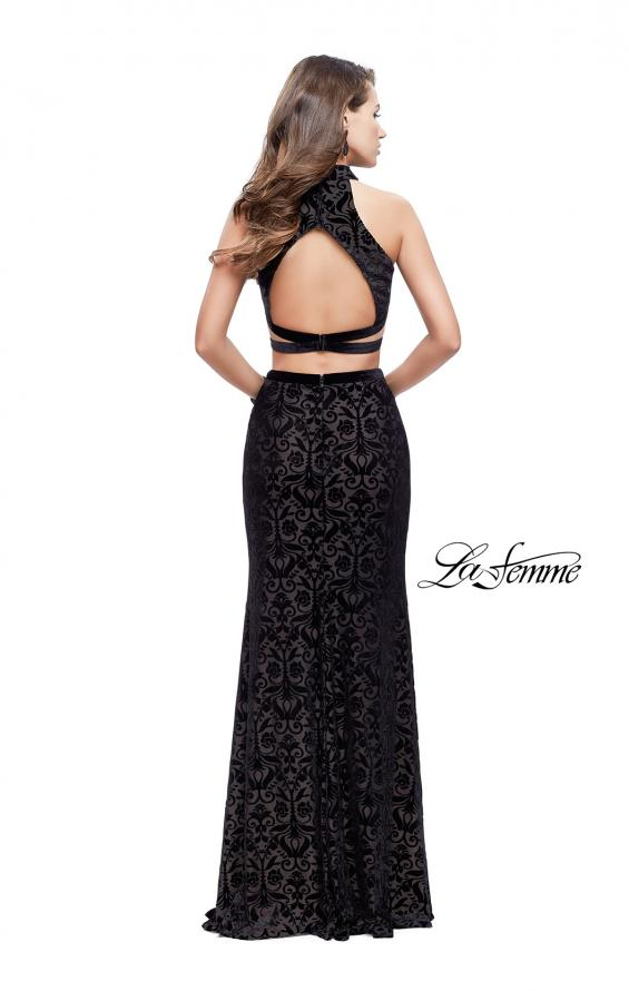 Picture of: Form Fitting Two Piece Prom Dress with Side Cut Outs in Black, Style: 25589, Back Picture