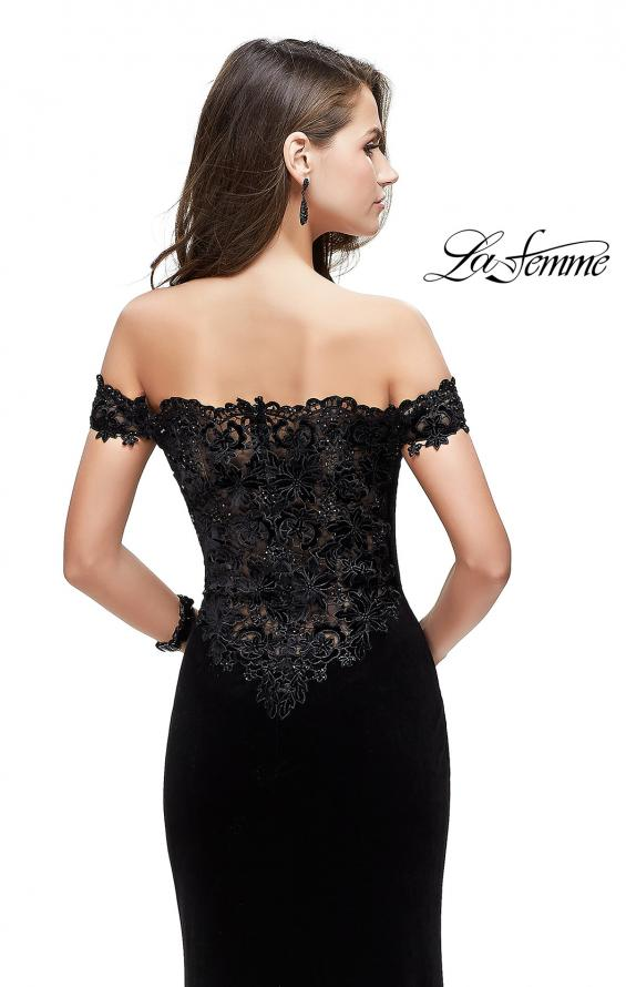 Picture of: Long Velvet Off the Shoulder Gown with Lace Detail in Black, Style: 25591, Back Picture