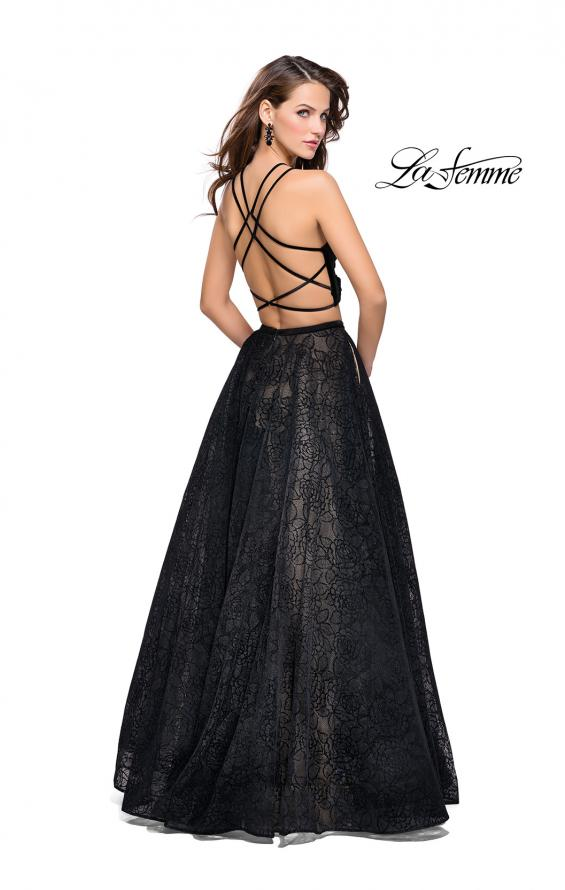 Picture of: Two Piece Long Ball Gown with Velvet Top and Open Back in Black, Style: 25592, Back Picture