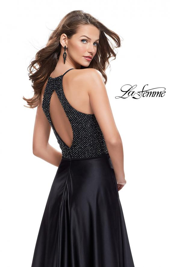 Picture of: Satin A-line Ball Gown Featuring Beading and a High Neck in Black, Style: 25601, Back Picture