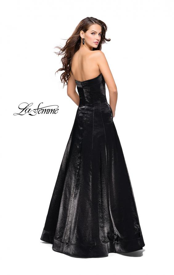 Picture of: Long Strapless Two-Tone Satin Ball Gown with Pockets in Black, Style: 25638, Back Picture