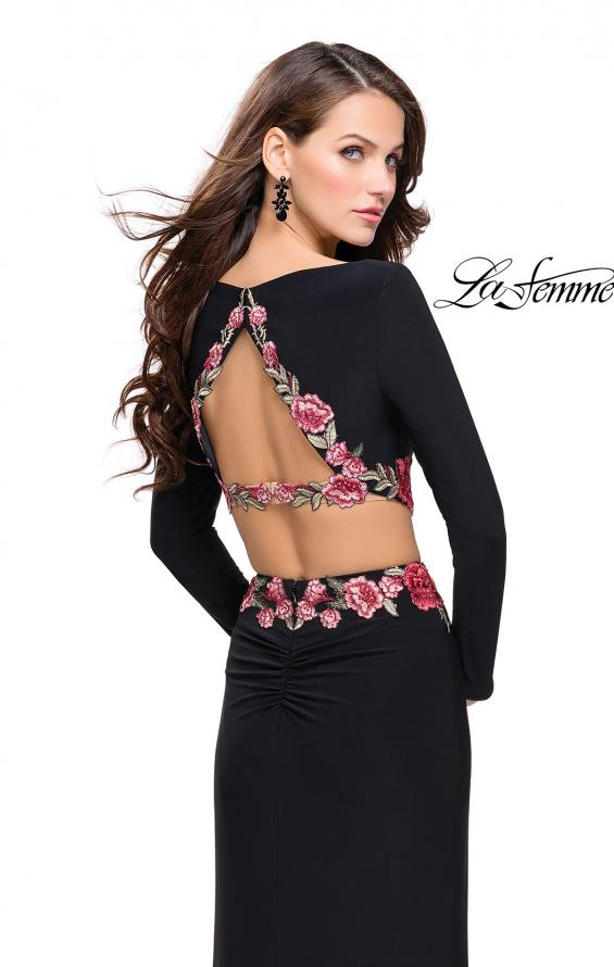 Picture of: Long Sleeve Two Piece Dress with Floral Applique in Black, Style: 25695, Back Picture