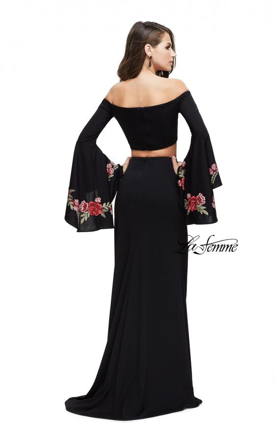 Picture of: Two Piece Off the Shoulder Dress with Long Bell Sleeves, Style: 25741, Back Picture