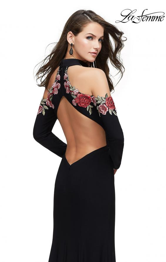 Picture of: Form Fitting Jersey Prom Dress with Floral Applique, Style: 25807, Back Picture