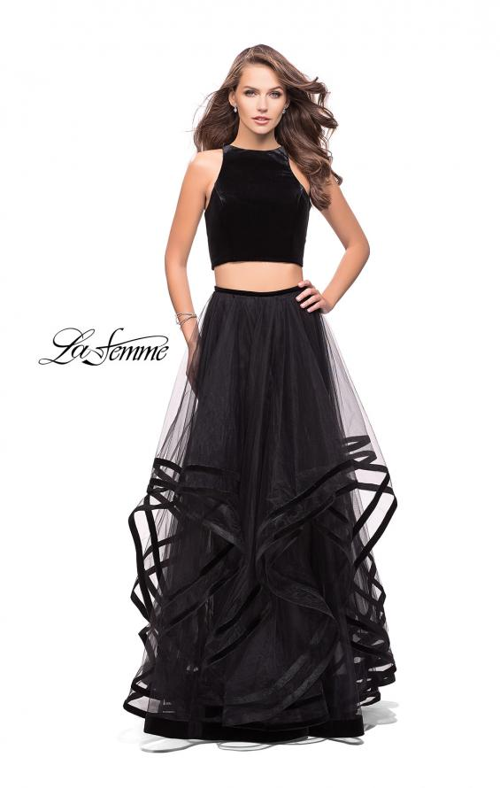 Picture of: Two Piece Tulle Gown with Velvet High Neck Top in Black, Style: 25817, Back Picture
