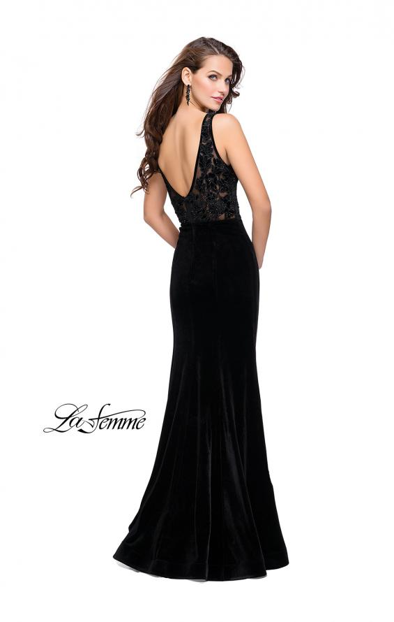 Picture of: Long Embellished Velvet Prom Dress with a Low V Back, Style: 25824, Back Picture