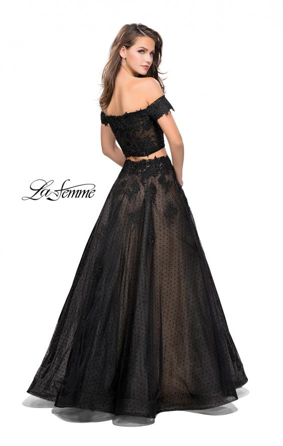 Picture of: Off the Shoulder Two Piece Gown with Polka Dot Print in Black, Style: 26110, Back Picture