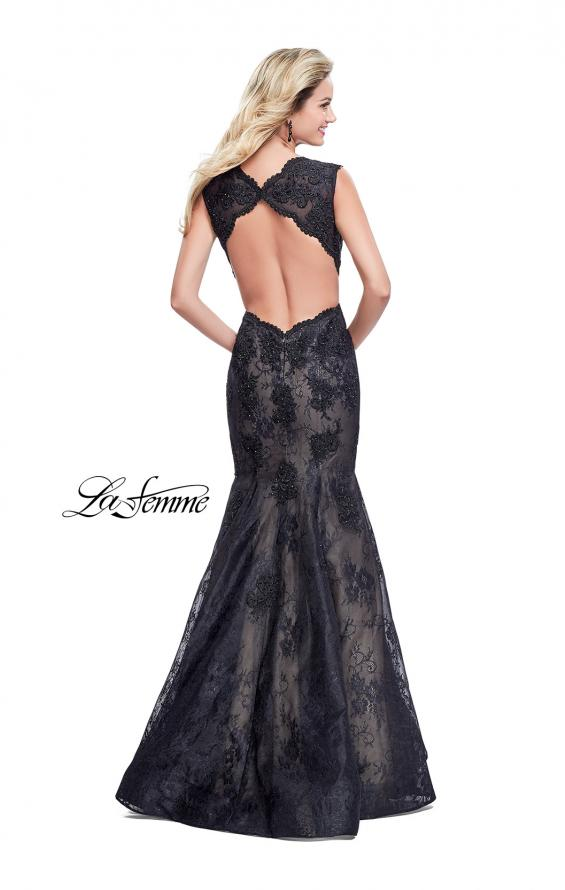 Picture of: Long Beaded Lace Mermaid Prom Dress with Open Back in Black, Style: 26120, Back Picture