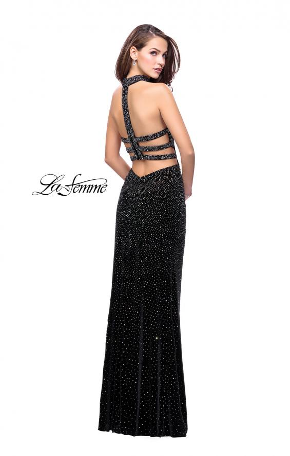 Picture of: Long Strapless Velvet Prom Gown with Cascading Beads in Black, Style: 26239, Back Picture