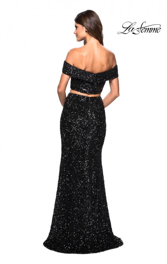 Picture of: Two Piece Sequin Off the Shoulder Prom Dress in Black, Style: 27020, Back Picture
