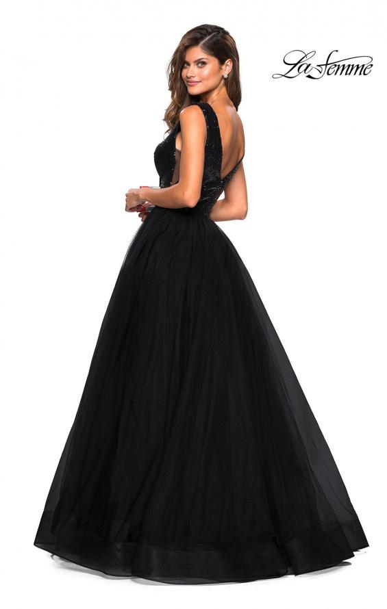 Picture of: sequin Bust A Line Prom Gown with Pockets in Black, Style: 27336, Back Picture