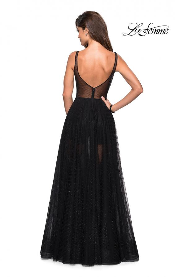 Picture of: Long Prom Dress with Sheer Skirt and Shorts in Black, Style: 27457, Back Picture