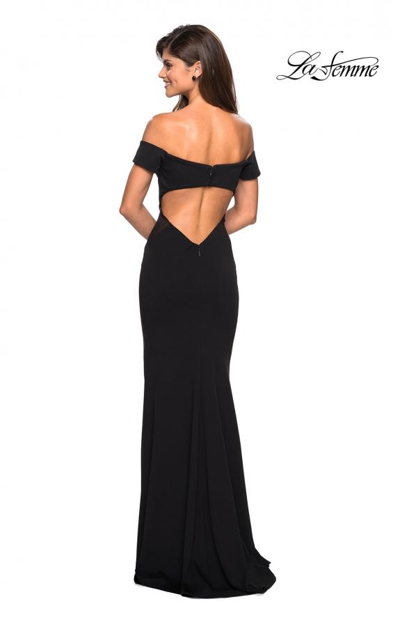 Picture of: Form Fitting Off the Shoulder Dress with Illusion Detail in Black, Style: 27480, Back Picture