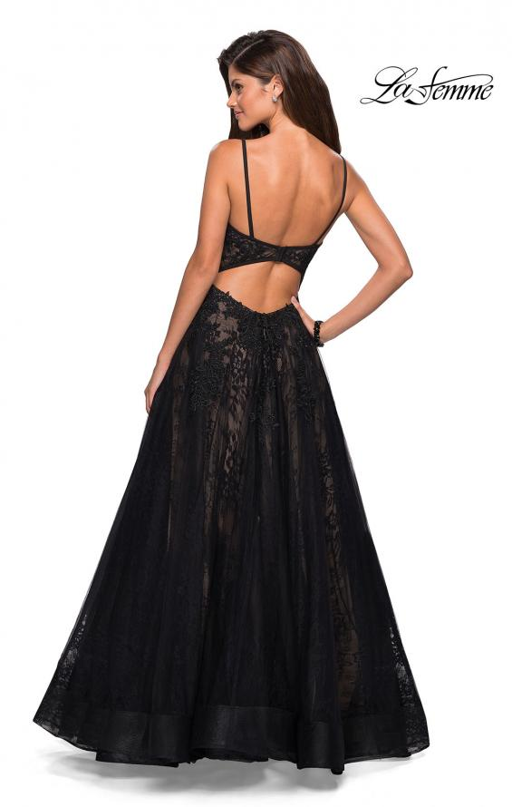 Picture of: Tulle and Lace Long Evening Gown with Pockets, Style: 27488, Back Picture