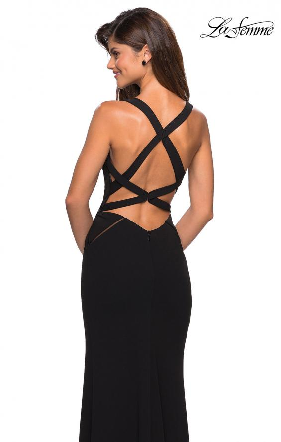 Picture of: Long Black Prom Dress with Illusion Cutouts in Black, Style: 27538, Back Picture