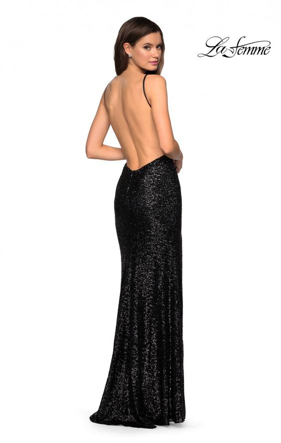 Picture of: Sparkling Fully sequin Prom Gown with Exposed Back in Black, Style: 27585, Back Picture
