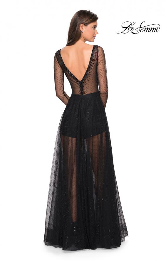 Picture of: Sheer Long Sleeve Gown with Rhinestones and Shorts, Style: 27652, Back Picture
