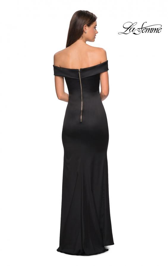 Picture of: Form Fitting Off the Shoulder Satin Prom Dress in Black, Style: 27752, Back Picture